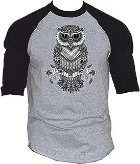 Night Owl Black and White Men`s Baseball T-Shirt Black/Gray S-3XL