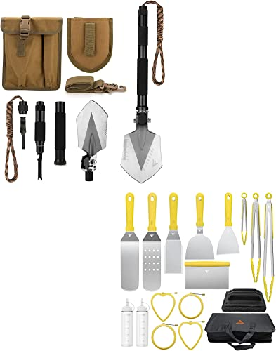 FiveJoy Military Folding Shovel Multitool (C1) +Griddle Accessories Kit for Camp Chef BBQ Tools, 17 PCS