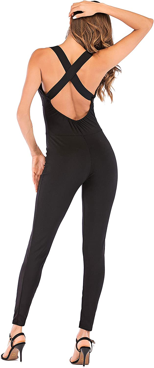Sumtory Tight Yoga Jumpsuit Sleeveless Backless Hollow Out Sport Romper Playsuit