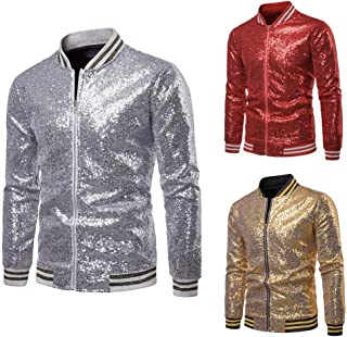 HUAZONG Mens Sequin Jacket Zip Up Baseball Varsity Bomber Sparkle Metallic Nightclub Disco Jacket