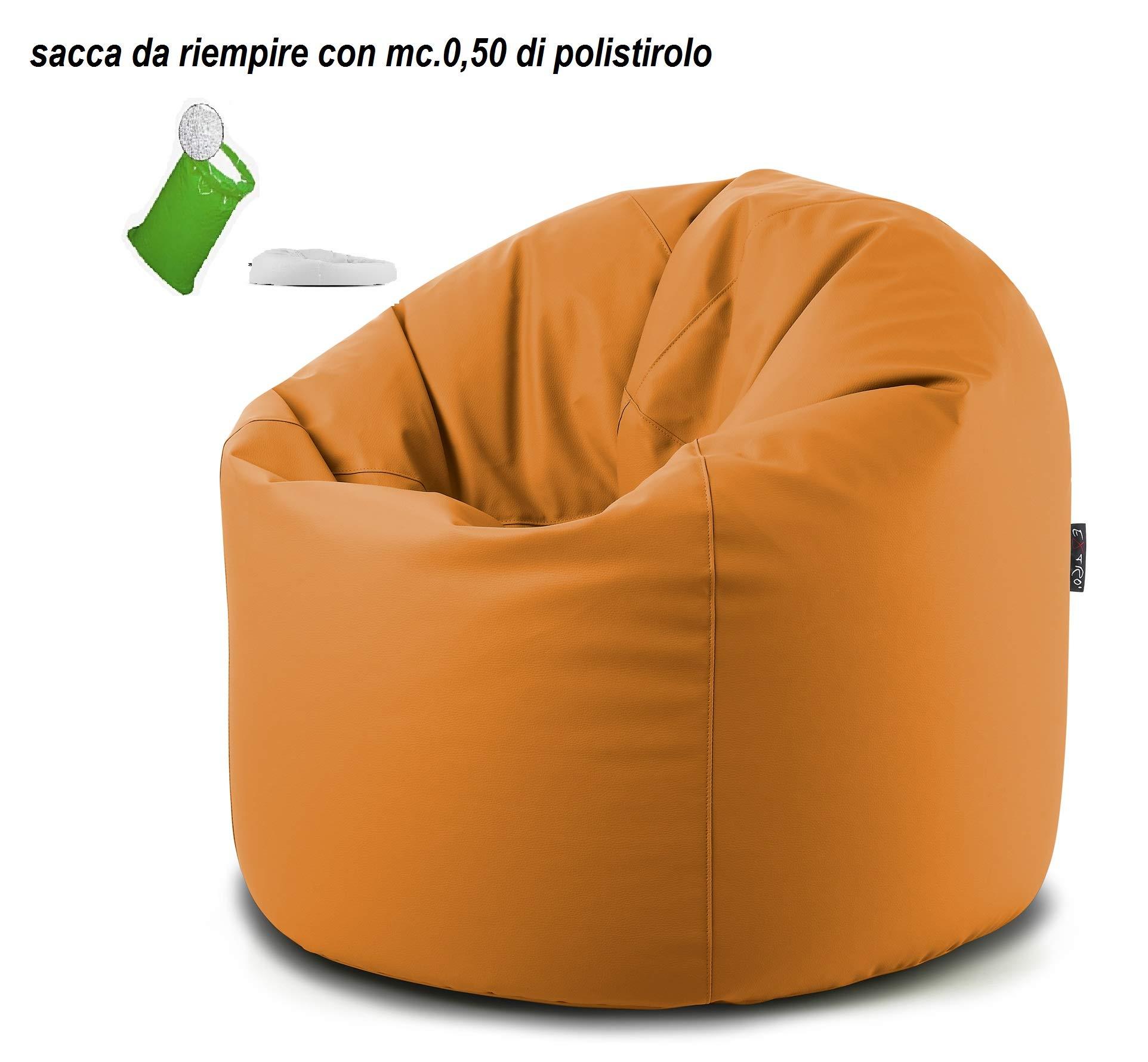 EXTROITALY Sacco Pouf TERA Rosso Ecopelle Poltrona Morbida 78x78 H.93 Lampo sul Fondo RIEMPITA in POLISTIROLO