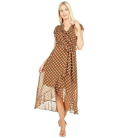 Tahari by ASL Printed Chiffon Dot Side Tie Dress with Ruffle Detail