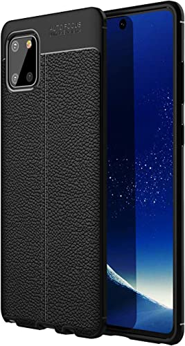 Mobiclonics Leather Textured Autofocus Soft Back Case Cover for Samsung Galaxy Note 10 Lite Black