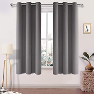 DWCN Room Darkening Blackout Curtains Thermal Insulated Curtain for Bedroom Grommet Window Curtain Panel 42 x 63 Inch, Set of 2 Panels,Thick Grey Curtains