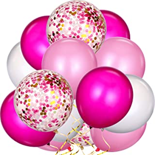 80 Pieces Mardi Gras Balloons Latex Balloons Confetti Balloons Colorful Party Balloons for Christmas Halloween Valentine's Day St. Patrick's Day (Pink, White, Rose Red)