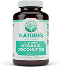 Organic Coconut Oil - Healthy Skin, Nails, Weight Loss, Hair Growth – Extra Virgin, Cold Pressed, Unrefined Non GMO - Rich in MCT MCFA - Support Brain Function, Blood Pressure, Anti Aging - 120softgel