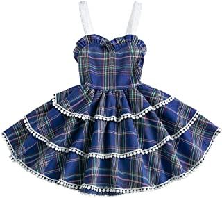luckymily Baby Girls Casual Dress Plaid Toddler Floral Ruffles Tiered Outfits Sleeveless Kids Clothing Skirt Party Dresses