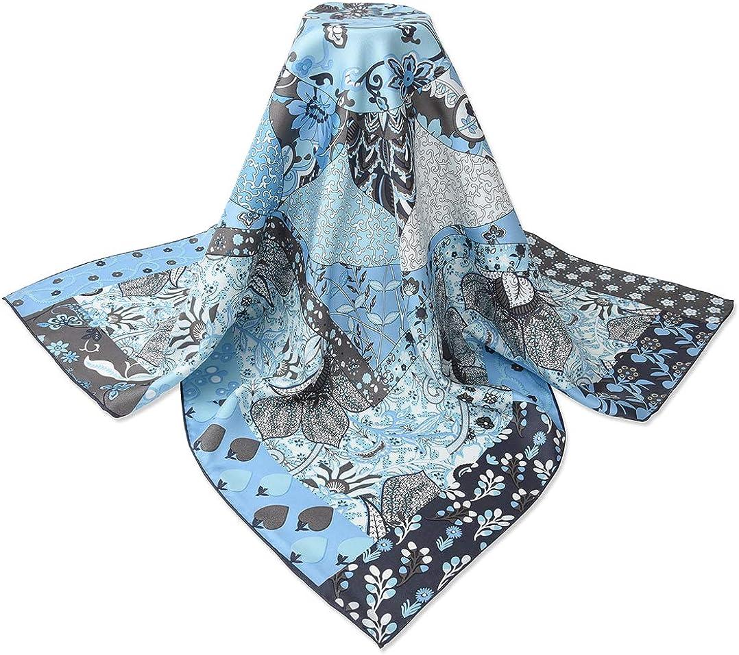Corciova 35 x 35 Square Real Silk Twill Women Hair Wraps Head Scarfs 14 Momme