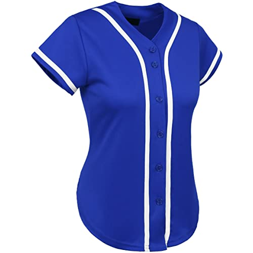 Hat and Beyond Womens Baseball Button Down Tee Short Sleeve Softball Jersey  Active T Shirts 5bdddd1fb36