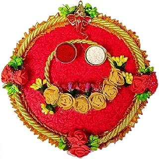 Karwa Chauth/Karva Chauth & Diwali Decorative Puja Thali/Platter with Lord Ganesha and roli Rice for Hindu Temple Rituals,...