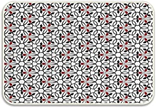Huayuanhurug Red and Black Abstract Heart Shaped Interlocking Circles with Flowers Geometric Arrangement Doormat Non Slip Bathroom Rug Indoor Carpet Floor Dirt Trapper Mats Shoes Scraper 24x16 inch