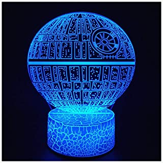 3D Illusion Night Light LED Desk Lamp Touch Control 7 Color Change USB Powered for Home Decorations or Holiday Kids's Gifts (Death Star)