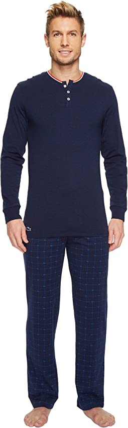 Lacoste - Cotton Jersey Long Sleeve Henley & Signature Print Knit Pants
