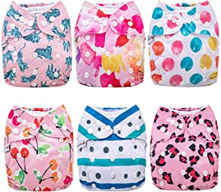 Anmababy Cloth Diapers, 6 Pack Adjustable Size, Waterproof, Washable Pocket Cloth Diaper Cover with 6 Inserts and 1 Wet Bag.