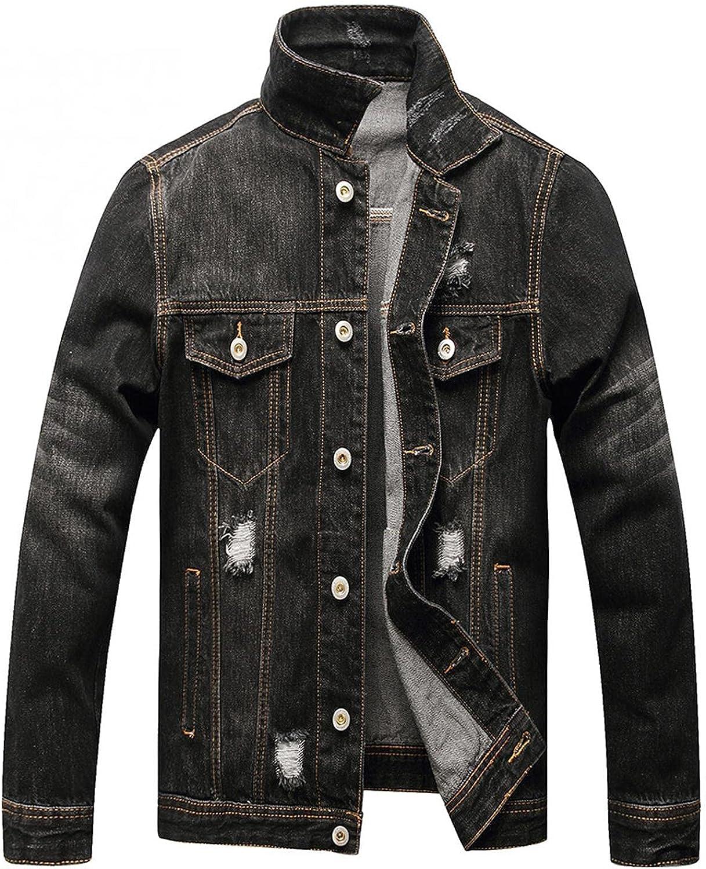 Beshion Lightweight Jean Jacket for Men Ripped Long Sleeve Denim Black Jacket Slim Fit Holes Trucker Coat with Pocket