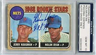Nolan Ryan Signed HOF 99 1968 Topps Rookie Card RC graded mint 10 autograph - PSA/DNA Certified - Baseball Slabbed Autographed Cards