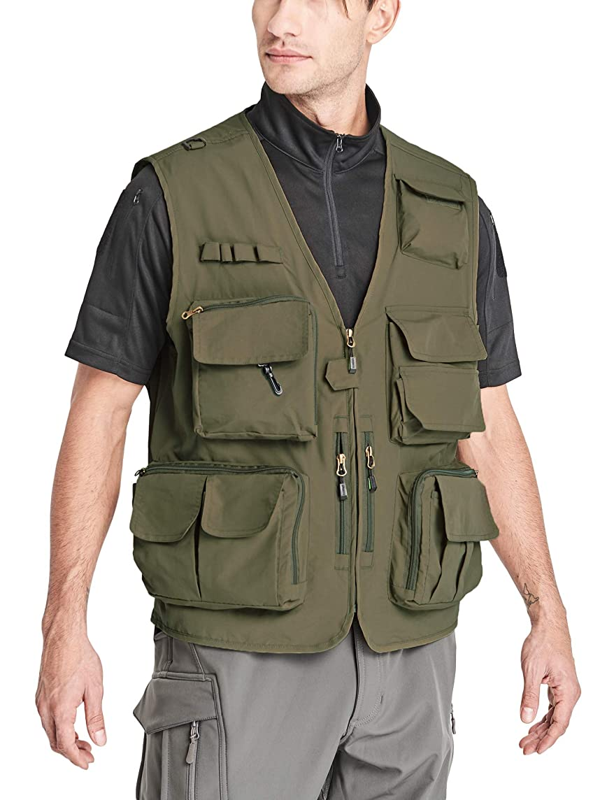 MAGCOMSEN Men's Hiking Fishing Vest with 15 Pockets Quick Dry Outdoor Utility Photography Journalist Travel Vest