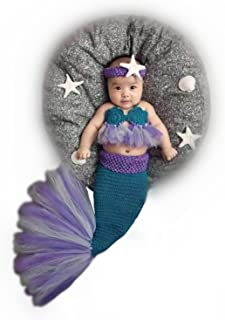 Newborn Baby Crochet Knitted Photography Props Purple Mermaid Bra Tail Outfits