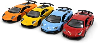 Just For Laughs Lamborghini Super Car 4 Pack, Official Diecast Aventador(Red+Sky Blue) Murceilago(Orange+Yellow)