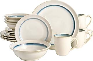 Gibson Elite Lawson Round Reactive Glaze Stoneware Dinnerware Set, Service for Four (16pcs), White/Teal