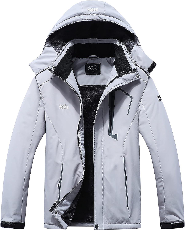 Pooluly Bargain sale Men's Ski Jacket Warm Waterproof Now on sale Hood Windbreaker Winter