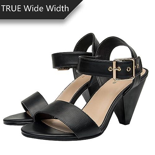 9c71add2972 Women s Wide Width Heeled Sandals - Comfortable Open Toe Ankle Strap Chunky  Block Low Heel Summer