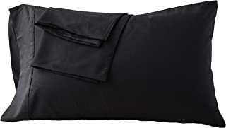Pillowcases Set of 2 Black Envelope Closure End Easy Fit for Summer Soft and Breathable Machine Washable Queen