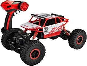 SZJJX RC Rock Off-Road Vehicle 2.4Ghz 4WD High Speed 1:18 Racing Cars RC Cars Remote Radio Control Cars Electric Rock Crawler Electric Buggy Hobby Car Fast Race Crawler Truck-Red
