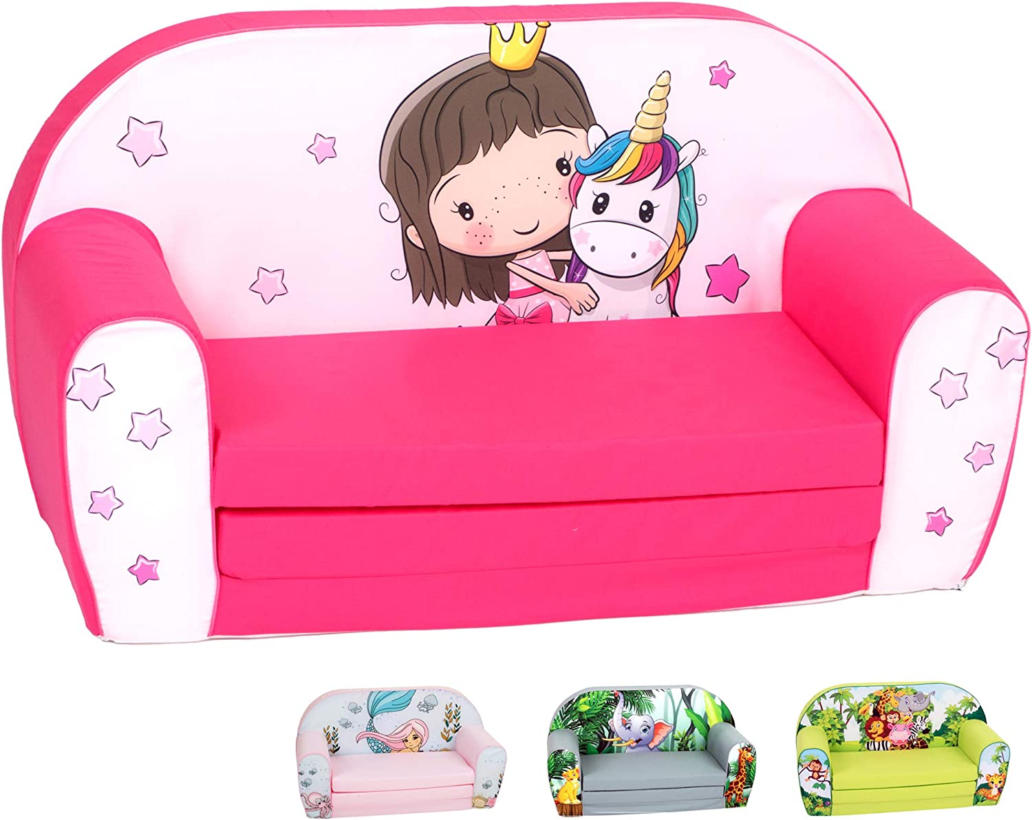 DELSIT Toddler Couch & Kids Sofa - European Made Children's 2 in 1 Flip Open Foam Double Sofa - Kids Folding Sofa, Kids Couch - Comfy fold Out Lounge (Princess Unicorn)