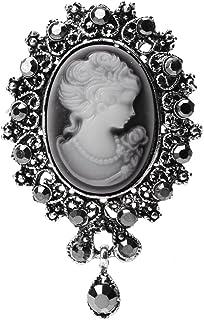 Xuniu Broche de Moda, Vintage Camafeo Estilo Victoriano Broche Pin para el Banquete de Boda de Las Mujeres de Plata