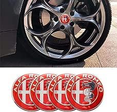 Yi Tou Zhu 4pcs 56mm Car Wheel Center Hub Cap Cover Sticker Rim Emblem Badge Fit for Alfa Romeo Giulietta Spider GT Giulia Mito 147 156 159 (Red)