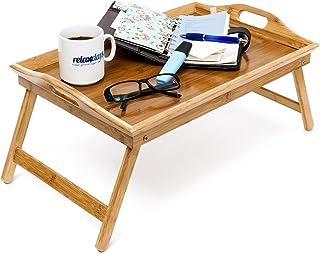 comprar comparacion Relaxdays Bandeja, Doble función, Mesa de Desayuno, Patas desplegables, bambú, Borde Alto