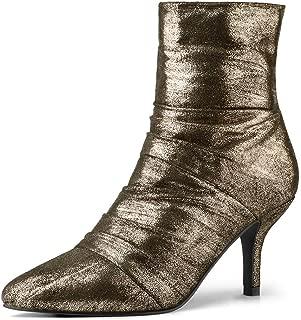 Allegra K Women's Christmas Pointed Toe Stiletto Heel Metallic Gold Boots