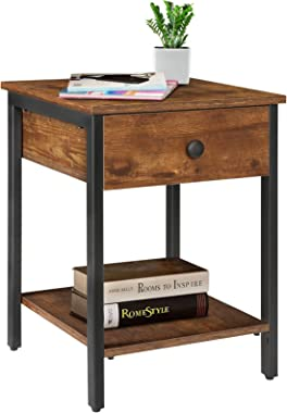 KINGSO Nightstands Industrial Side End Tables with Drawer and Storage Shelf 2 Tier Bedside Table Night Stand for Small Spaces
