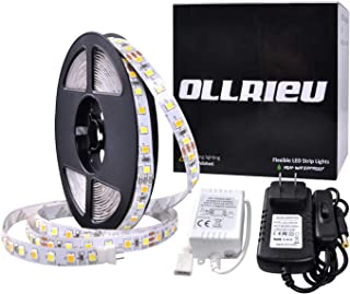 ollrieu 16.4ft/5m LED Strip Lights,Flexible 12V Rope Lights Warm White & Daylight White 600 Units SMD 2835 Non-Waterproof UL Listed Power Plug Indoor Decorative Lighting for Mirror TV Room Cabinet