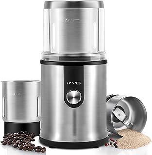 KYG Molinillo de café eléctrico para uso seco/ húmedo con 2 vasos extraible Molinillo para especias semillas pimientas albahacas ajos aguacate cuchillas de acero inoxidable, 300W