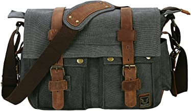 Peacechaos Men's Canvas Leather DSLR SLR Vintage Camera Messenger Bag