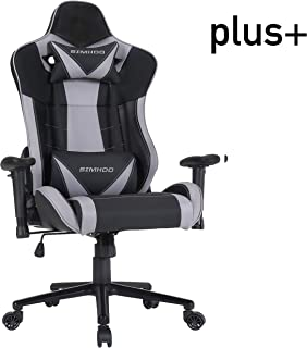 SIMHOO Big and Tall Gaming Chair High Back Ergonomic Chair Large Video Game Chair Heavy Duty Adjustable Recliner with Headrest and Massage Lumbar (Gray)