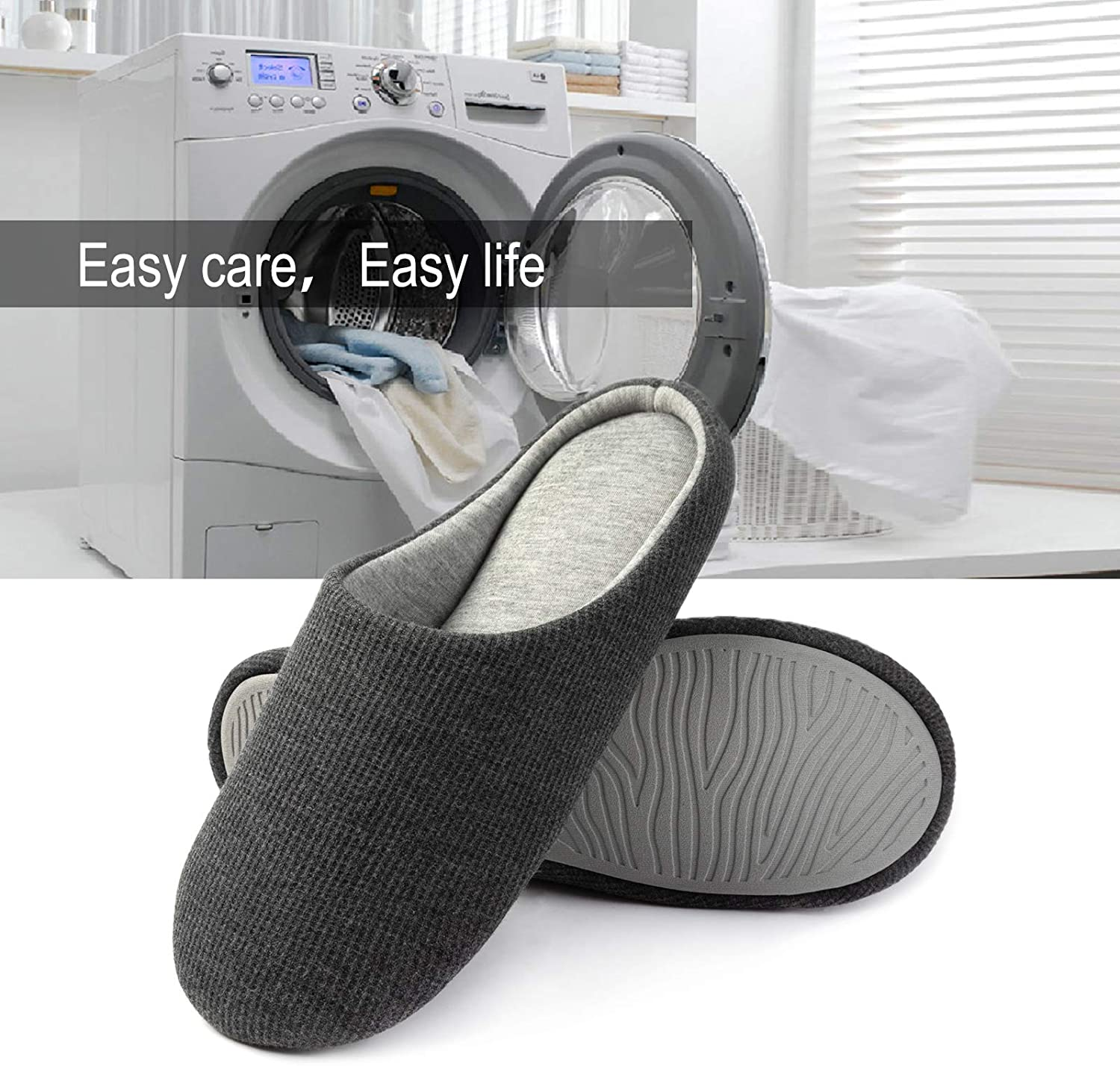 ULTRAIDEAS Mens Comfort Knitted Cotton Slippers Washable Flat ...