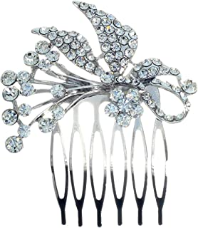 Rosemarie Collections Women's Headpiece Glass Crystal Ribbon Design Hair Comb