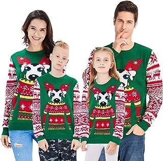 48a62a92d14 Loveternal Pull de Noel Garçon Fille Ugly Christmas Sweater Famille Tricot  Xmas Jumper 6-17