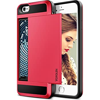Vofolen Case for iPhone 6 Case iPhone 6S Case Wallet Cover Impact Resistant Protective Shell Shockproof Rubber Bumper Case Anti-Scratches Hard Cover Skin ID Slot Card Slot Holder for iPhone 6 6S Red