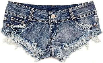 Soojun Women's Sexy Cut Off Low Waist Denim Micro Mini Shorts Clubwear