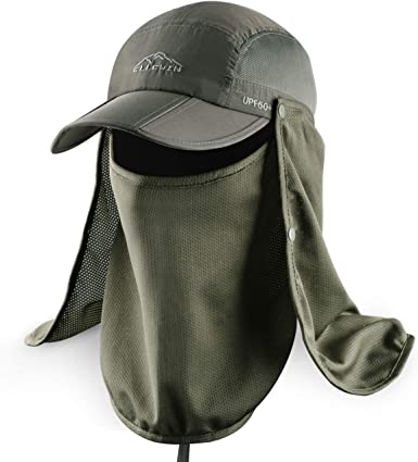 Amazon.com: ELLEWIN Outdoor Fishing Flap Hat UPF50 Sun Cap Removable Mesh  Face Neck Cover, D-army Green/ Mesh Neck Cover, M-L-XL : Sports & Outdoors