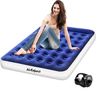 AirExpect Air Mattress Camping AirBed Queen & Twin Size Leak Proof Inflatable Mattress with Rechargeable Electric Pump Built-in Pillow for Guest,Camping,Hiking, Height 9