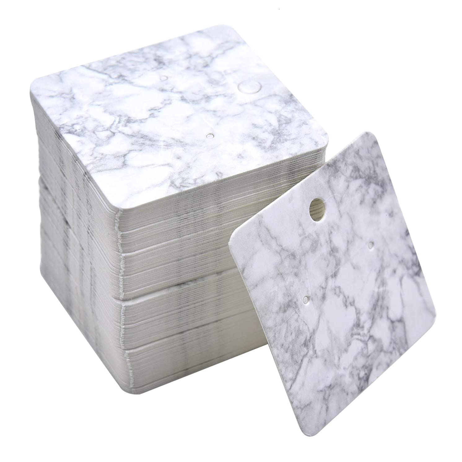 Monrocco 100 Pcs Paper Earring Display Cards Marble Design Earring Card Holder Blank Paper Tags for DIY Ear Studs and Earrings