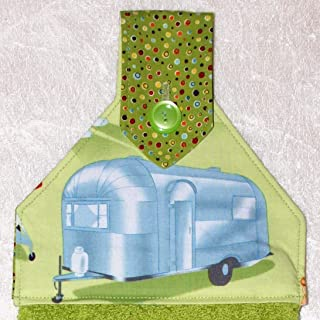 Hanging Hand Towel - Green RV Camping Decor - Airstream Silver Trailer