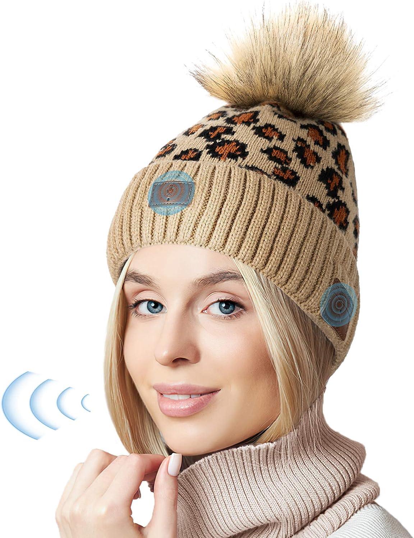 Gifts for Men Women, New Voice Control Bluetooth Beanie Hat Headphones, Smart Bluetooth 5.0 Beanie Music Hat Outdoor Sports, 2021 Novelty Birthday Stocking Stuffers(Leopard-Women)