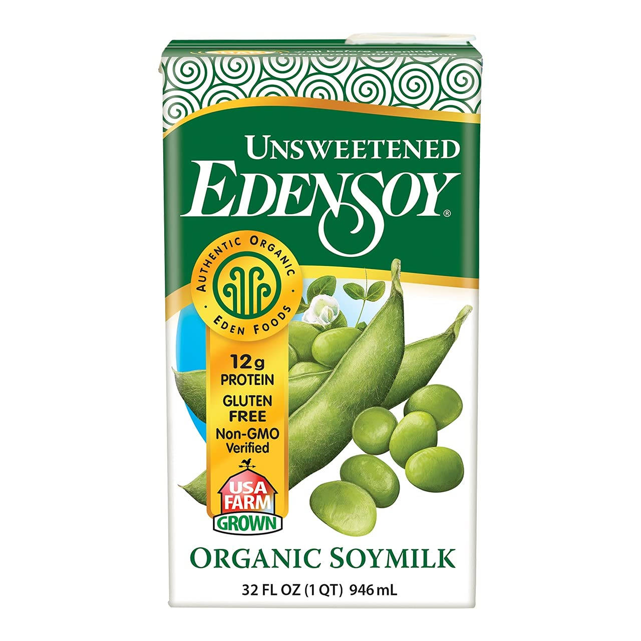 Eden Foods Organic Unsweetened Edensoy 12 OZ Of Sale item free 32 Pack