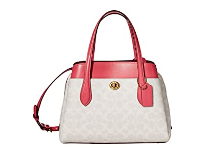 COACH Coated Canvas Signature Lora Carryall 30 (B4/Chalk/Confetti Pink) Bags